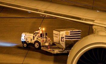 Arribo de vacunas al Aeropuerto de Carrasco (foto de archivo)