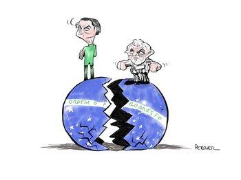 Ilustración de Pancho Perrier sobre Jair Bolsonaro y Lula da Silva