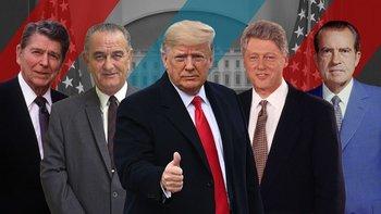 Los expresidentes de EE.UU., Ronald Reagan, Lyndon B. Johnson, Donald Trump, Bill Clinton y Richard Nixon.