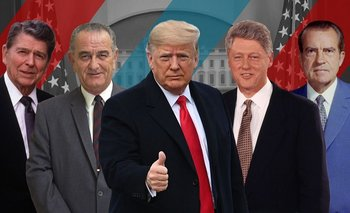 Los expresidentes de EE.UU., Ronald Reagan, Lyndon B. Johnson, Donald Trump, Bill Clinton y Richard Nixon.