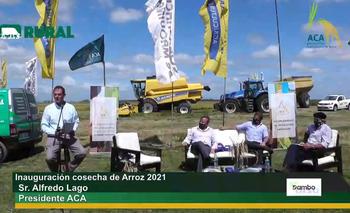 Alfredo Lago en el discurso de la inauguración de la cosecha de arroz 2021