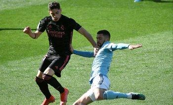 Federico Valverde en acción con Real Madrid ante Celta