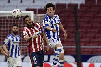 Facundo Pellistri durante el duelo contra Atlético de Madrid