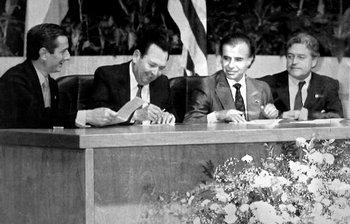 Los presidentes de Brasil, Fernando Collor de Mello, de Paraguay, Andrés Rodríguez, de Argentina, Carlos Menem, y de Uruguay, Luis Alberto Lacalle, en la firma del Tratado de Asunción el 25 de marzo de 1991