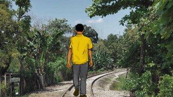 Ilustración de un joven migrante hondureño