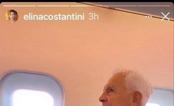 Eduardo Costantini en una de las historias de Instagram que subió su esposa, Elina Fernández, a fines de marzo, cuando viajaban hacia Uruguay