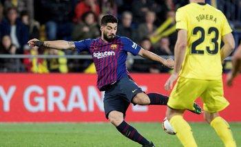 Así la calzó Suárez para poner el gol del 4-4 en Villarreal