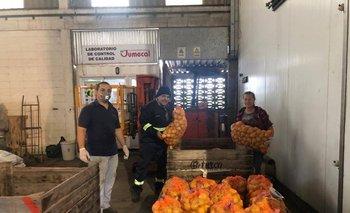 Parte del equipo de la cooperativa Jumecal ordenando lo que los productores granjeros donan.