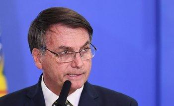 Bolsonaro durante una conferencia en Brasilia