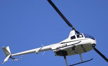 Uno de los cuatro helicópteros que tiene el Ministerio del Interior en el aire