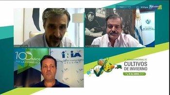 Esteban Hoffman (Fagro), Carlos María Uriarte (MGAP) y Daniel Vázquez (INIA).