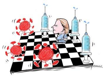 Ilustración del coronavirus y Luis Lacalle Pou