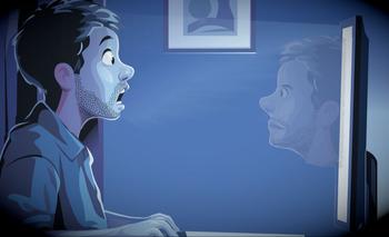 Ilustración de un hombre utilizando una computadora viéndose a sí mismo en la pantalla