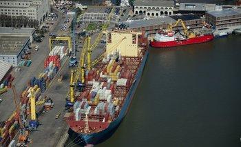 Exportaciones desde el puerto de Montevideo.