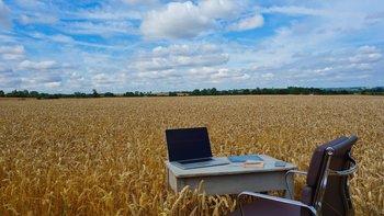 Oficina de trabajo en medio del campo