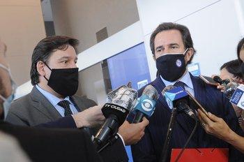 Adrián Peña y Germán Cardoso, tras reunirse con el presidente Luis Lacalle Pou