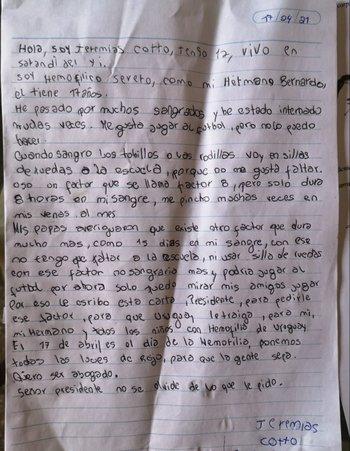 La carta de Jeremías al presidente Luis Lacalle Pou.