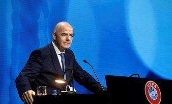 Gianni Infantino, presidente la FIFA, durante el congreso de la UEFA, en abril de 2021