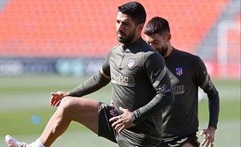Luis Suárez este miércoles en el entrenamiento del Atlético