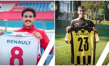 Gabriel Neves, jugador de Nacional, y Facundo Torres, jugador de Peñarol