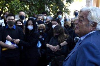 Luis Alberto Lacalle en el entierro de Gonzalo Aguirre.