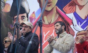 Los dirigentes sindicales Gabriel Molina y Fernando Pereira en un acto en 2019