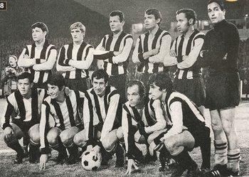 El equipo de la final: parados, Martínez, Peralta, Goncálvez, Figueroa, Soria y Pintos; abajo, Lamberck, Viera, Lamas, Onega y Acuña.