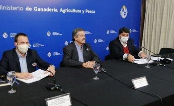 Carlos Rydstrom, Carlos María Uriarte y Pablo Lanz durante la conferencia de prensa de este jueves.