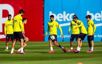 Suárez y Araújo en los entrenamientos grupales de Barcelona