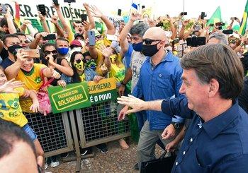 Bolsonaro durante la manifestación de este domingo