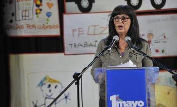 La diregente Flor de Liz Feijoo durante el acto virtual del sábado 1° de mayo.