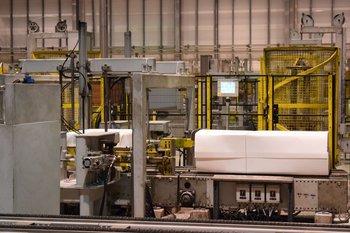 Producción de celulosa en la planta de Montes del Plata.