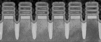 Fila de nanohojas de los chips de dos nanómetros