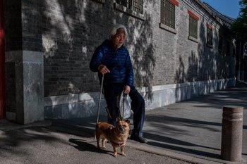 Un adulto mayor descansa y se sienta sosteniendo a su perro en una calle fuera de la Ciudad Prohibida durante el Día del Trabajo