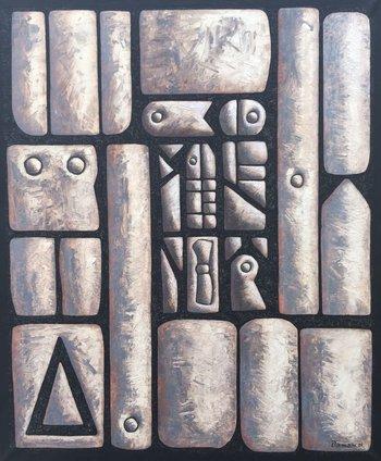 """Lote 222. DAMIANI, Jorge (1931-2017). Óleo sobre tela. """"Formas."""" Firmado y fechado """"01"""" abajo a la derecha. 120 x 100 cm."""