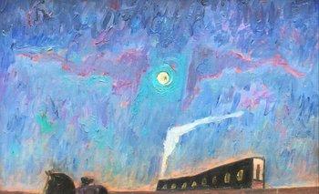 """Lote 230. STORM, Juan (1927-1995). Óleo sobre tela. """"Un tren. N3."""" Firmado y fechado 92 abajo al centro. Al dorso titulado por el artista. 50 x 65 cm."""