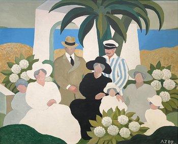 """Lote 241. ZORRILLA DE SAN MARTÍN, Alfredo (1927-1990). Óleo sobre tela. """"Personajes del 900 en la costa con hortensias y palmeras."""" Firmado y fechado """"89"""". Al dorso fechado y vueltoa firmar. 80 x 100 cm."""