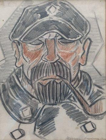 """Lote 244. BARRADAS, Rafael (1890-1929). Carbonilla y lápiz color sobre papel. """"Marinero."""" Firmado, fechado """"1925"""" y situado """"Bordeaux"""" abajo a la derecha. 26 x 20 cm."""