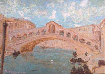 """Lote 252. FIGARI, Pedro (escuela uruguaya, 1861-1938). Óleo sobre cartón. """"Puente del Rialto."""" Firmado abajo a la izquierda. 35 x 49.5 cm. Al dorso titulado por el artista."""