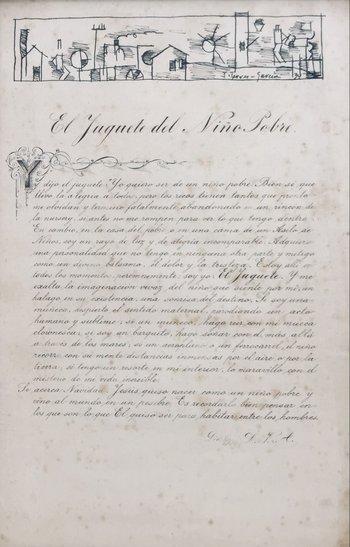 """Lote 255. TORRES GARCÍA, Joaquín (escuela uruguaya, 1874-1949). Tinta sobre cartulina. """"Composición constructiva con personajes, casas y tres."""" Firmado y fechado 1934 abajo a la derecha. 7 x 28 cm. Realizado en composición conjunta con el manuscrito en tinta del cuento """"El juguete del niño pobre"""" de Luis Varela Acevedo, firmado """"L.V.A."""" y fechado """"Dic. 8/934"""" abajo a la derecha. Medida total 49 x 31.5 cm."""