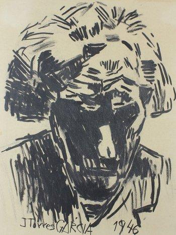 """Lote 256. TORRES GARCÍA, Joaquín (escuela uruguaya, 1874-1948). Acuarela sobre papel. """"Autorretrato."""" Firmado abajo a la izquierda y fechado """"1946"""" abajo a la derecha. 29 x 22.5 cm."""