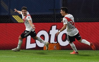 Julián Alvarez festeja el empate