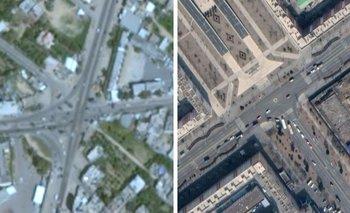Imagen de Gaza obtenida con Google Earth en la izquierda y una imagen de Pyongyang, Corea del Norte, en la derecha