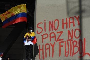 Protestas en los alrededores del estadio El Campín de Bogotá