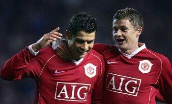 Ronaldo y Solskjaer en Manchester United