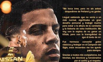 La carta de despedida de Peñarol de David Terans