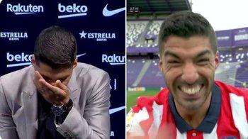 Las dos caras de Luis Suárez: cuando se despedía de Barcelona en setiembre pasado, y la de este sábado tras vencer con un gol suyo a Valladolid y conseguir el título de LaLiga