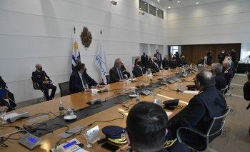Lacalle Pou, Heber y jefes de policía en Torre Ejecutiva