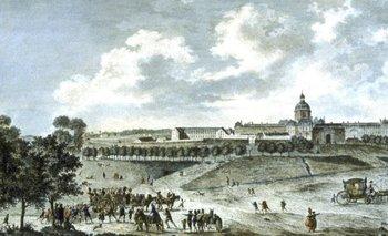 La Salpêtrière en un grabado de circa 1780. En la parte inferior izquierda se ve a un grupo de prostitutas que están siendo llevadas a la prisión.
