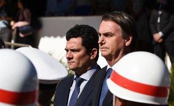 Sergio Moro y Jair Bolsonaro durante un acto militar en junio de 2019